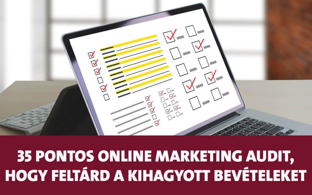 35 pontos online marketing audit, hogy feltárd a kihagyott bevételeket